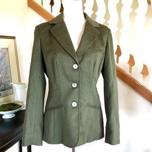 Wool & Angora Army Green 3 Button Blazer